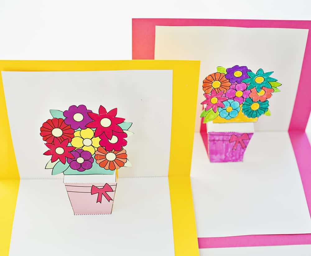 How To Make Pop Up Flower Cards With Free Printables Throughout Free Printable Pop Up Card Templates