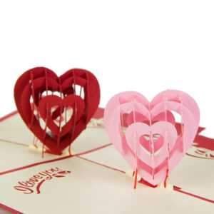 """i Love You"" Red Heart Design Handmade Creative Kirigami & Origami 3D Pop  Up Greeting & Gift Cards Free Shipping 10Pcs Regarding I Love You Pop Up Card Template"