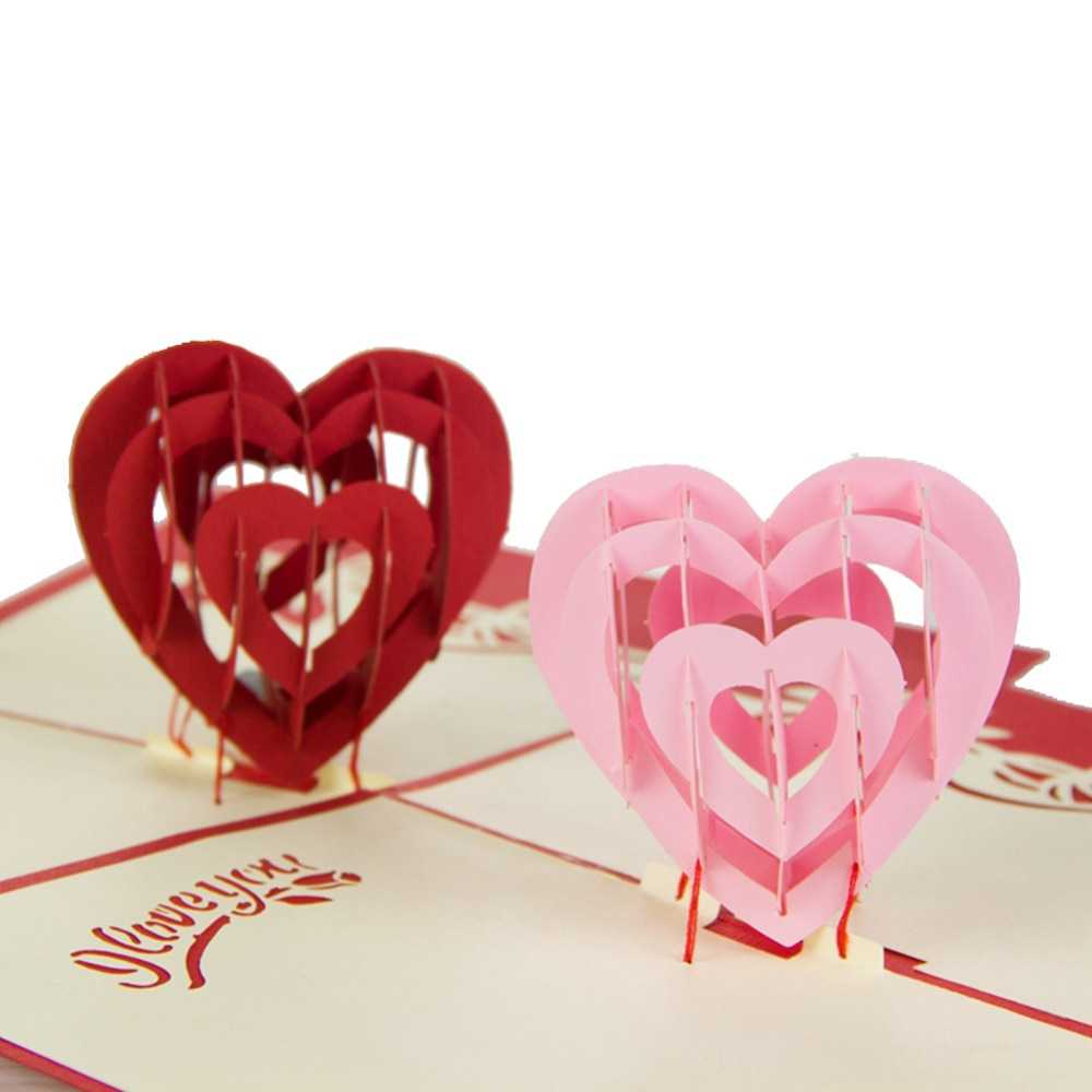 """""""i Love You"""" Red Heart Design Handmade Creative Kirigami & Origami 3D Pop  Up Greeting & Gift Cards Free Shipping 10Pcs Regarding I Love You Pop Up Card Template"""