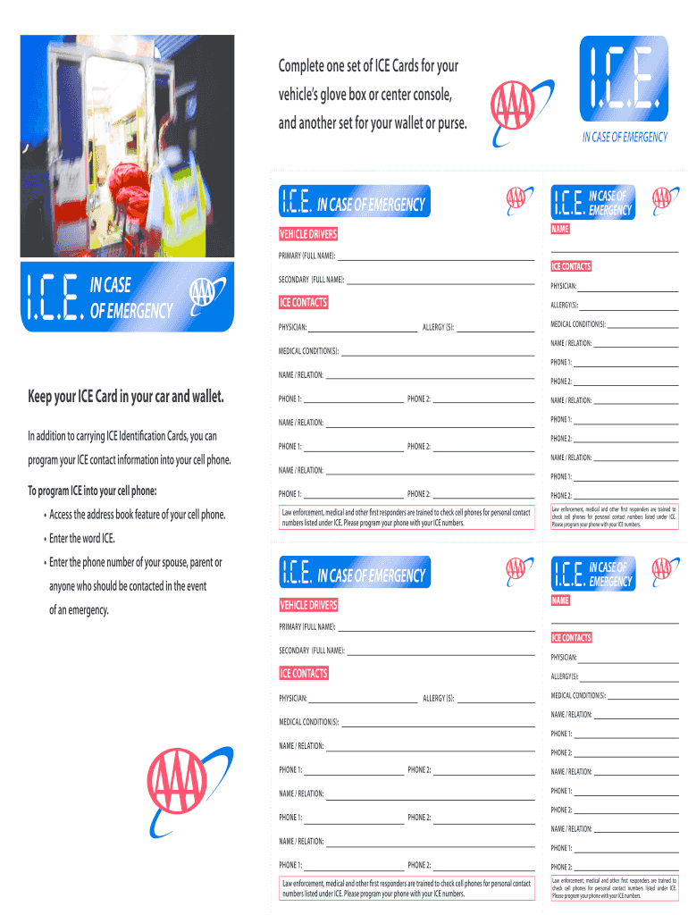 Ice Cards - Fill Online, Printable, Fillable, Blank   Pdffiller Within In Case Of Emergency Card Template
