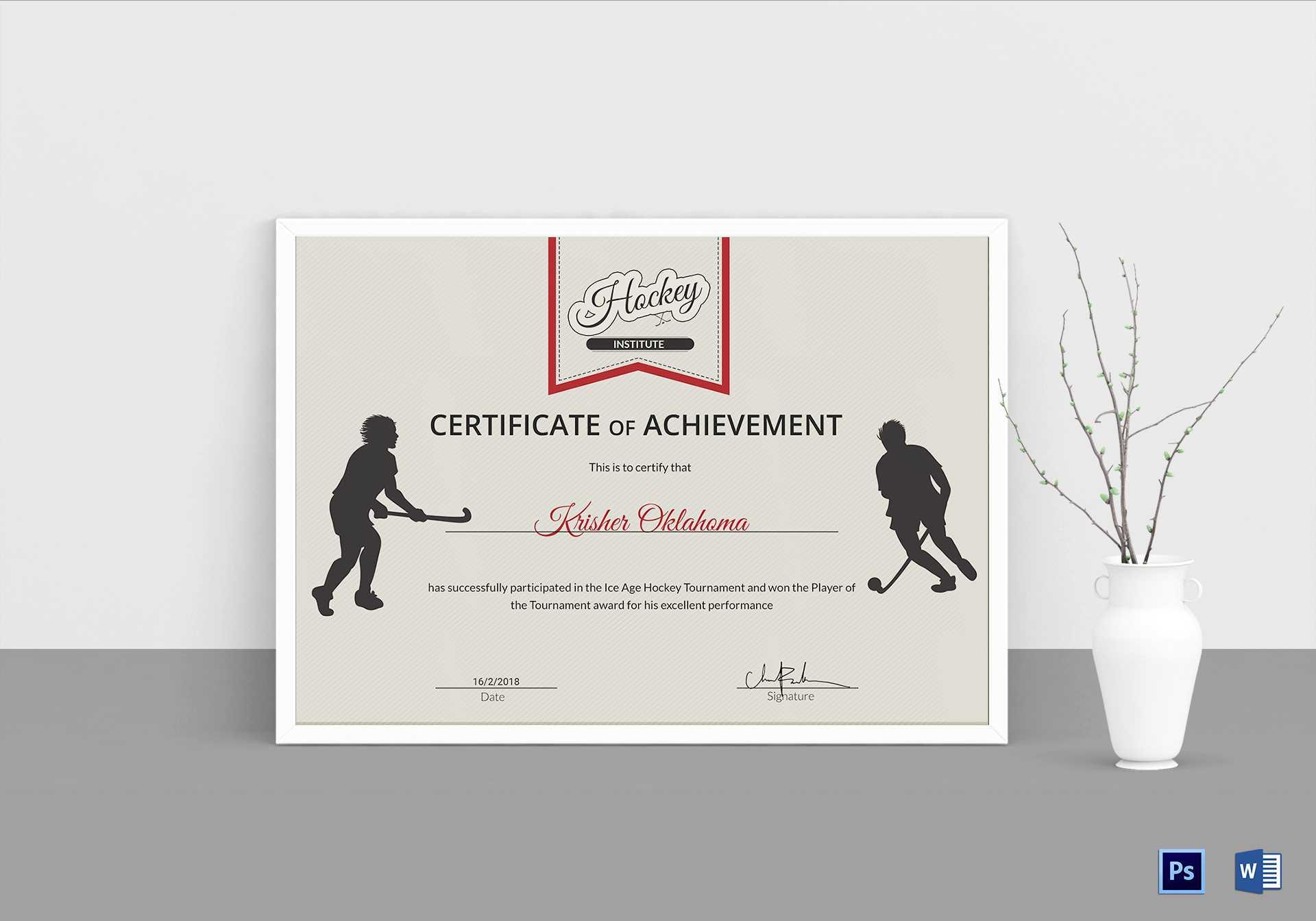 Ice Hockey Achievement Certificate Template Inside Hockey Certificate Templates