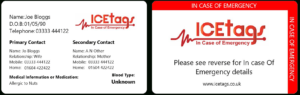 Ice Wallet Card | Full Size Icetags | Free Uk Delivery in Medical Alert Wallet Card Template