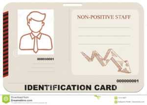 Identification Card For Non-Positive Staff Stock Vector inside Mi6 Id Card Template