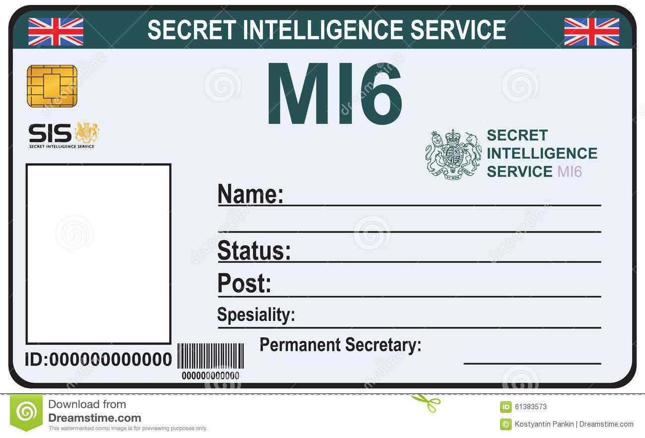 Identity A Secret Agent Of Mi 6 Stock Vector - Illustration Throughout Mi6 Id Card Template