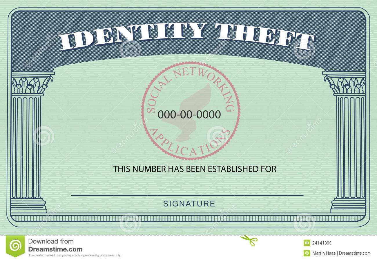 Identity Theft Card Stock Illustration. Illustration Of Throughout Fake Social Security Card Template Download