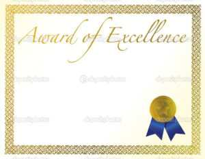 Illustration Of A Certificate. Award Of Excellence With in Award Of Excellence Certificate Template