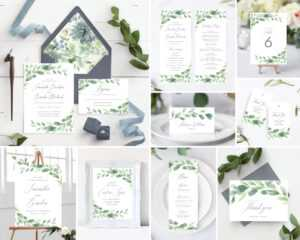 Instant Download Greenery And Gray Template Bundle Includes Wedding  Invitation, Envelope Liners, Program, Menu, Welcome Sign, And More! regarding Michaels Place Card Template