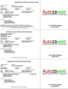 Insurance: Auto Insurance Identification Card for Proof Of Insurance Card Template
