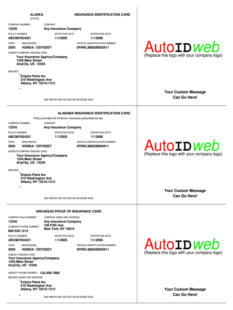 Insurance Card Template - Fill Online, Printable, Fillable For Auto Insurance Card Template Free Download
