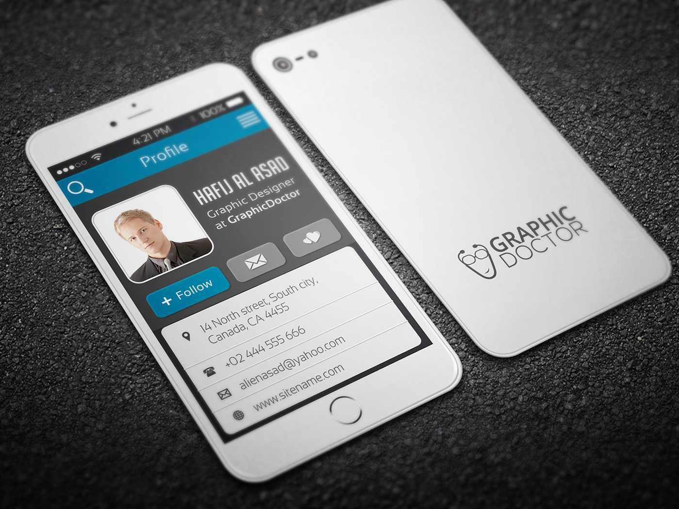 Iphone Business Card Template On Behance Inside Iphone Business Card Template