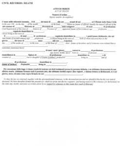 Italian Civil Death Document Translation Genealogy for Death Certificate Translation Template