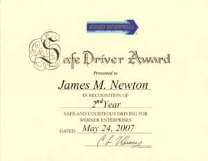 James M. Newton Awards within Safe Driving Certificate Template