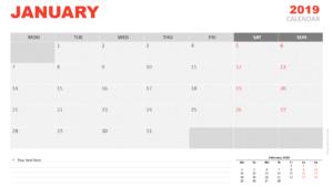 January 2019 Calendar For Powerpoint – Presentationgo with regard to Microsoft Powerpoint Calendar Template