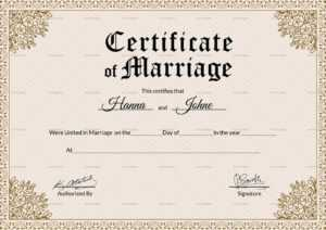 Keepsake Marriage Certificate Template Pertaining To Certificate Of Marriage Template