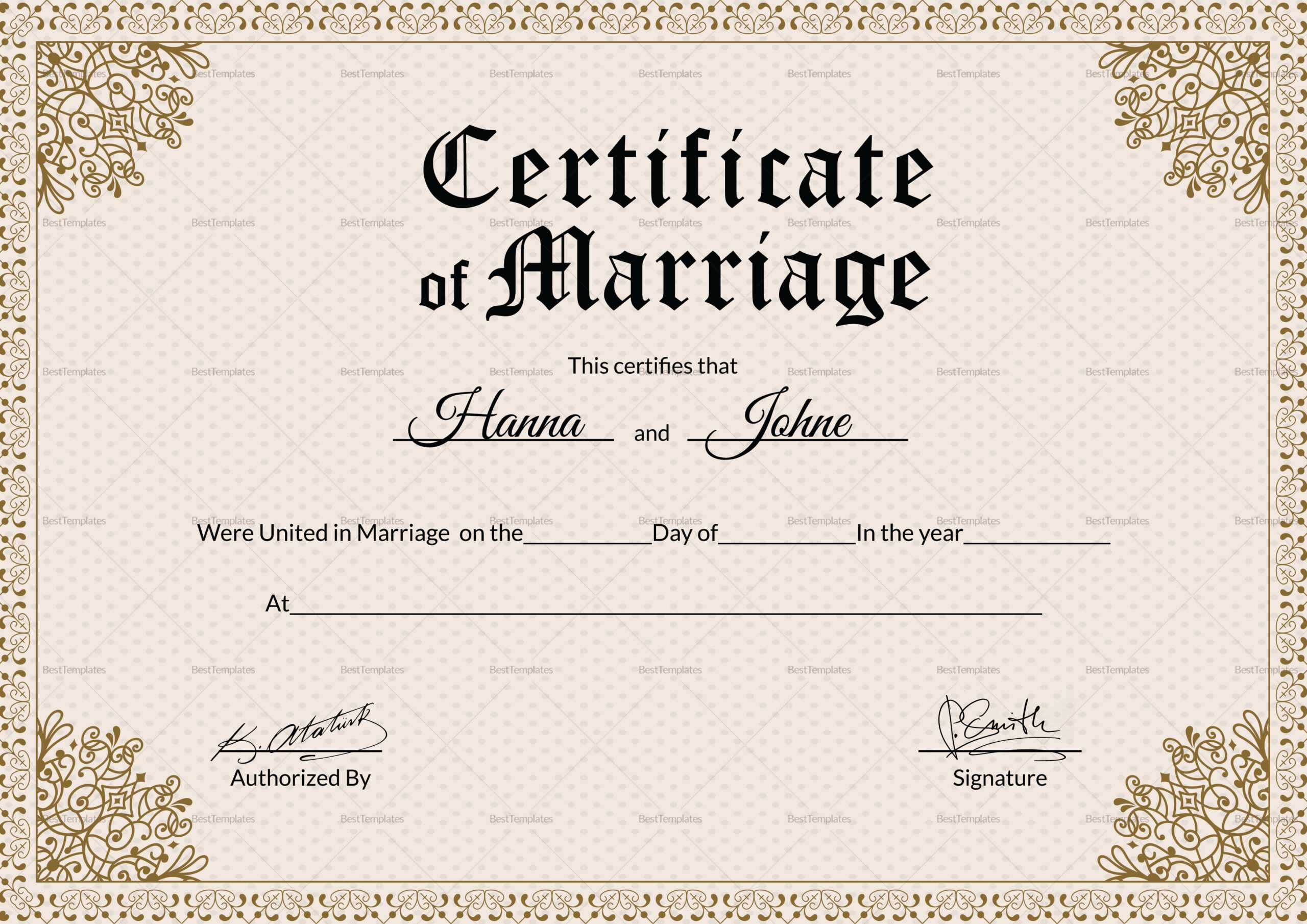 Keepsake Marriage Certificate Template Pertaining To Certificate Of Marriage Template