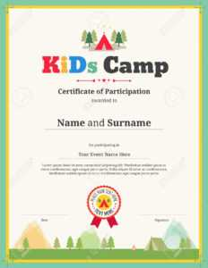 Kids Certificate Template For Camping Participation regarding Free Templates For Certificates Of Participation