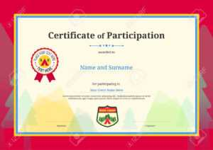 Kids Diploma Or Certificate Of Participation Template With Colorful.. throughout Certification Of Participation Free Template