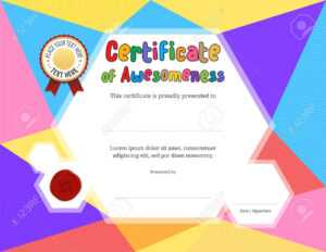 Kids Diploma Or Certificate Template With Colorful Background inside Free Printable Certificate Templates For Kids