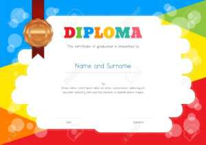 Kids Diploma Or Certificate Template With Colorful Background with Free Kids Certificate Templates