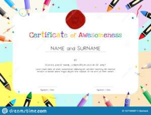 Kids Diploma Or Certificate Template With Painting Stuff with regard to Preschool Graduation Certificate Template Free