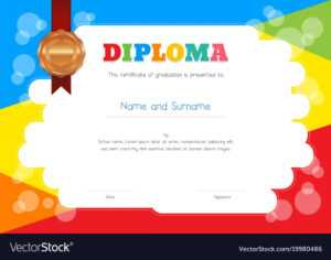 Kids Diploma Or Certificate Template With within Preschool Graduation Certificate Template Free