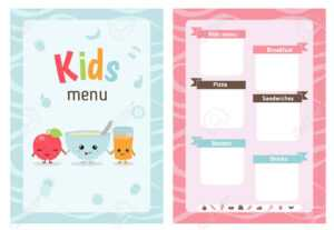 Kids Menu Card With Cartoon Food And. Cute Colorful Kids Meal.. inside Credit Card Template For Kids