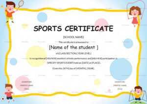 Kids Sports Participation Certificate Template within Sports Day Certificate Templates Free