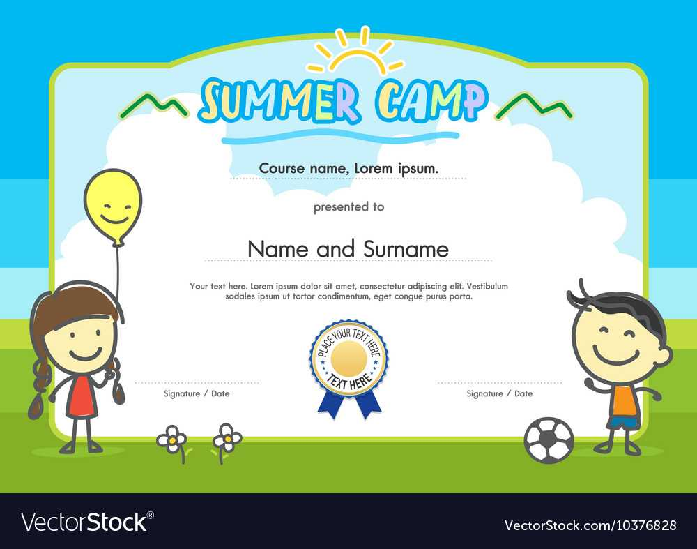 Kids Summer Camp Certificate Document Template Throughout Summer Camp Certificate Template