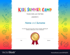 Kids Summer Camp Diploma Or Certificate Template Vector Image inside Basketball Camp Certificate Template