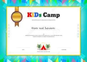 Kids Summer Camp Diploma Or Certificate Template With Colorful.. in Summer Camp Certificate Template