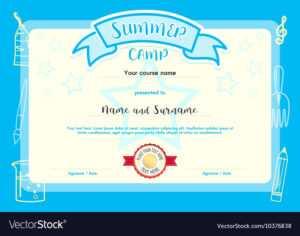 Kids Summer Camp Document Certificate Template pertaining to Summer Camp Certificate Template