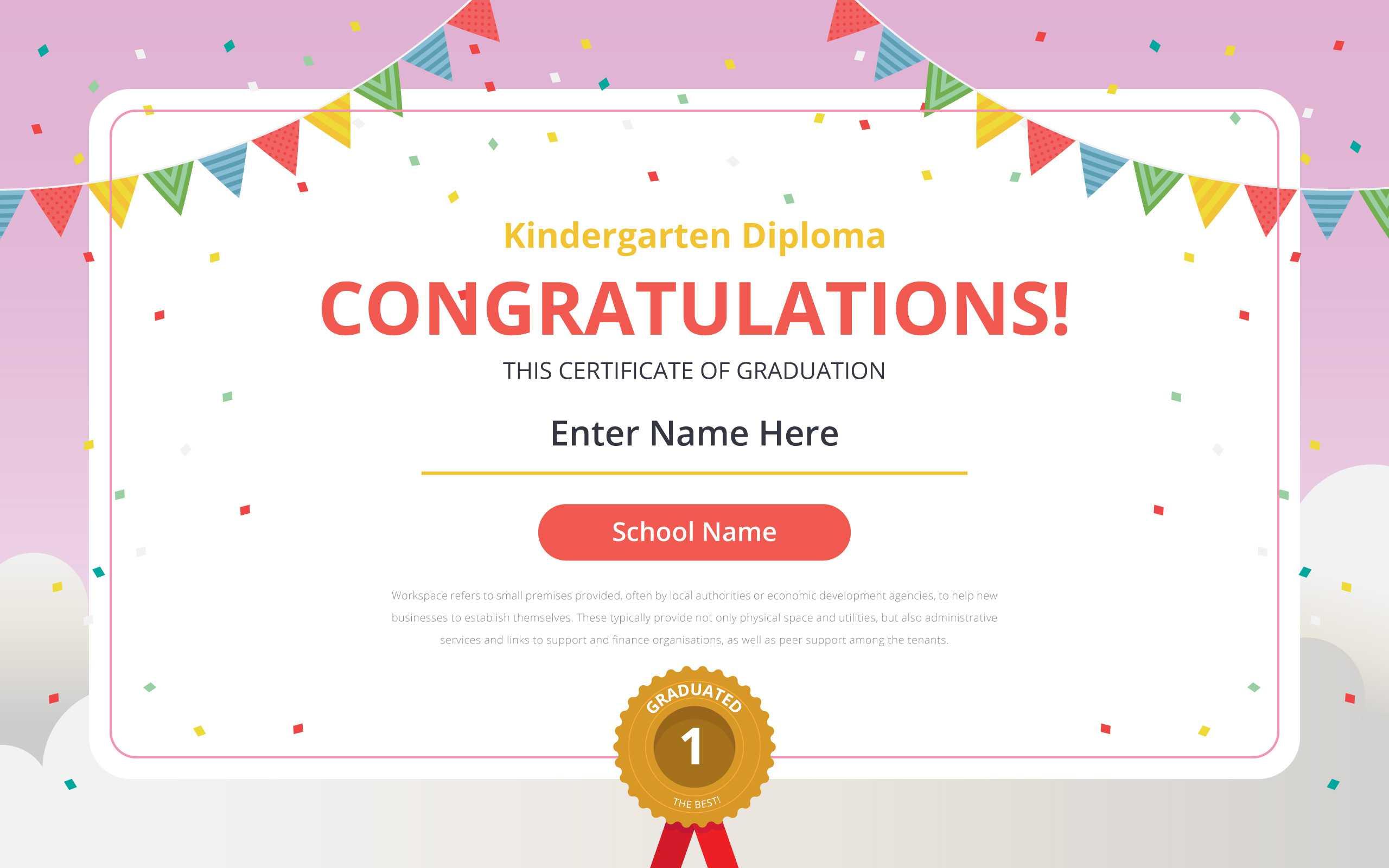 Kindergarten Diploma Certificate Template – Download Free Regarding Preschool Graduation Certificate Template Free