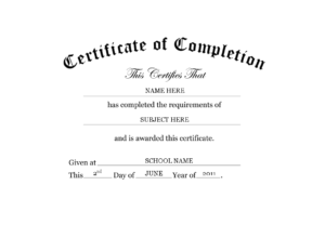 Kindergarten Preschool Certificate Of Completion Word intended for Certificate Of Completion Word Template