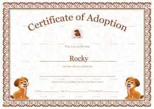Kitten Adoption Certificate inside Child Adoption Certificate Template