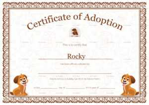 Kitten Adoption Certificate regarding Service Dog Certificate Template