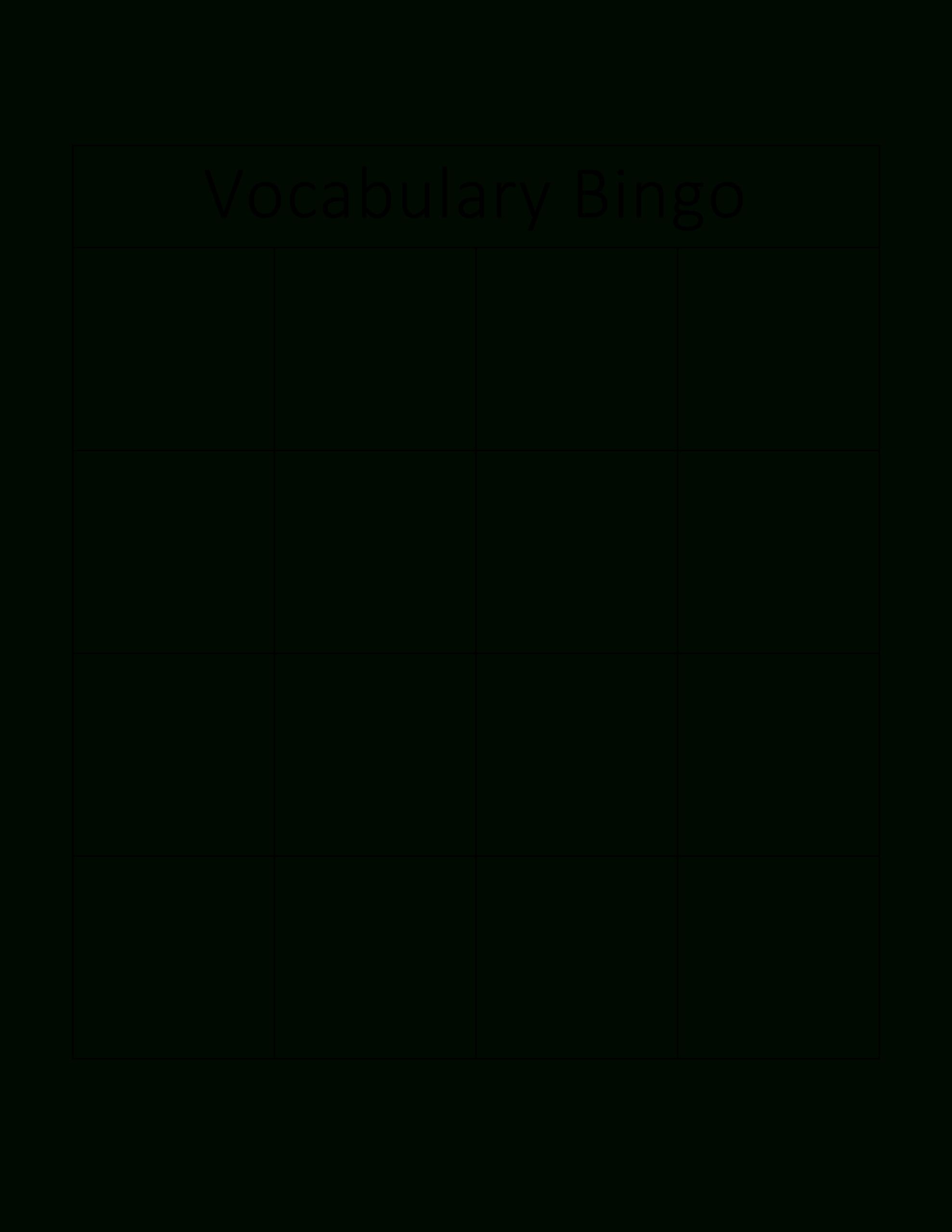 Kostenloses Vocabulary Bingo Card For Blank Bingo Card Template Microsoft Word