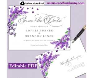 Lavender Save The Date Card Printable Template,save The Date Card,(131) throughout Save The Date Cards Templates