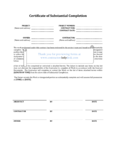 Letter Of Substantial Completion – Free Printable Documents with regard to Certificate Of Substantial Completion Template