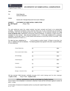 Letter Of Substantial Completion – Free Printable Documents within Certificate Of Substantial Completion Template