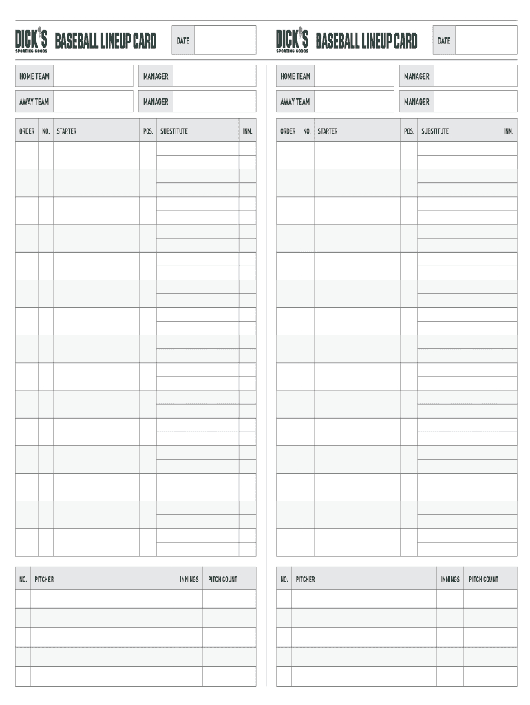 Lienup Card Fillable - Fill Online, Printable, Fillable Inside Baseball Lineup Card Template