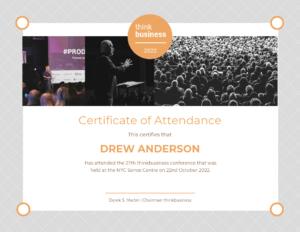 Light Attendance Certificate Template in Certificate Of Attendance Conference Template
