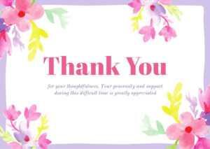 Light Violet Floral Sympathy Thank You Card – Templatescanva in Sympathy Thank You Card Template