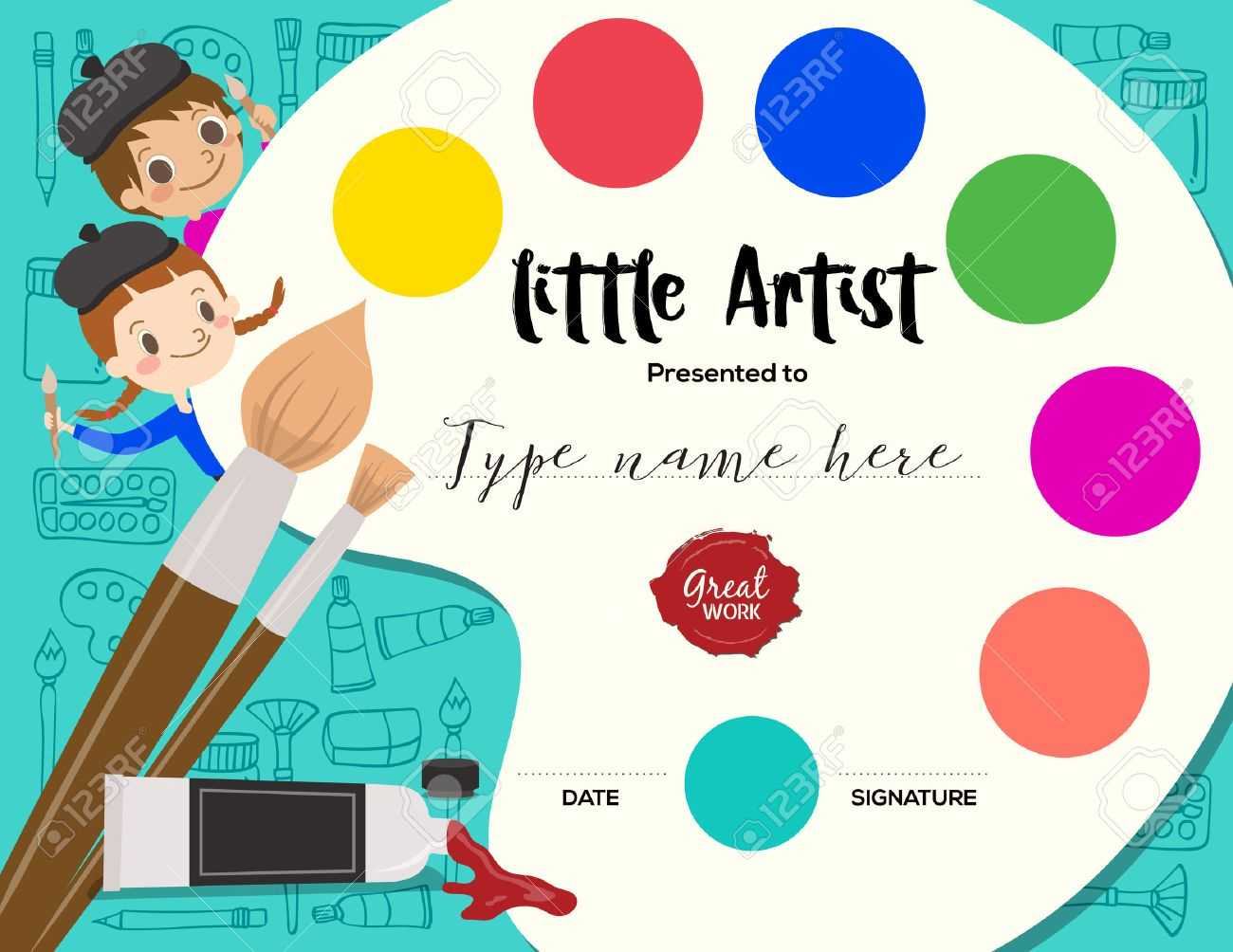 Little Artist, Kids Diploma Child Painting Course Certificate.. With Free Art Certificate Templates