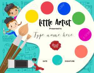 Little Artist, Kids Diploma Child Painting Course Certificate.. within Art Certificate Template Free