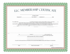 Llc Membership Certificate – Free Template for Certificate Of Ownership Template