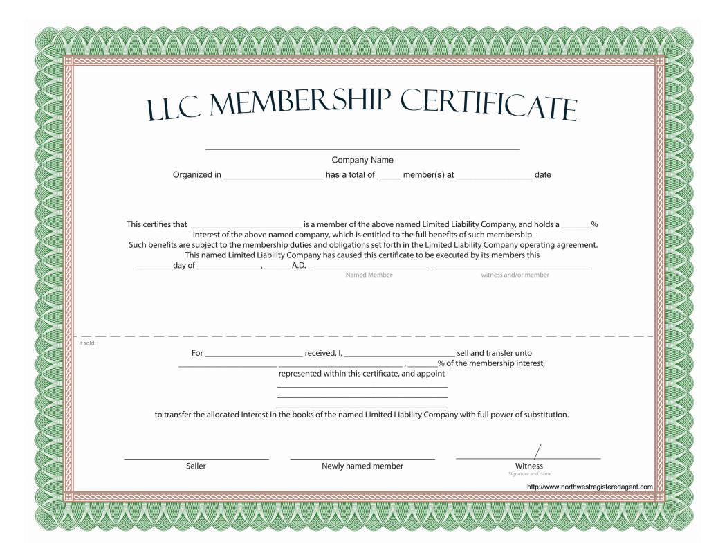 Llc Membership Certificate - Free Template Pertaining To Llc Membership Certificate Template Word