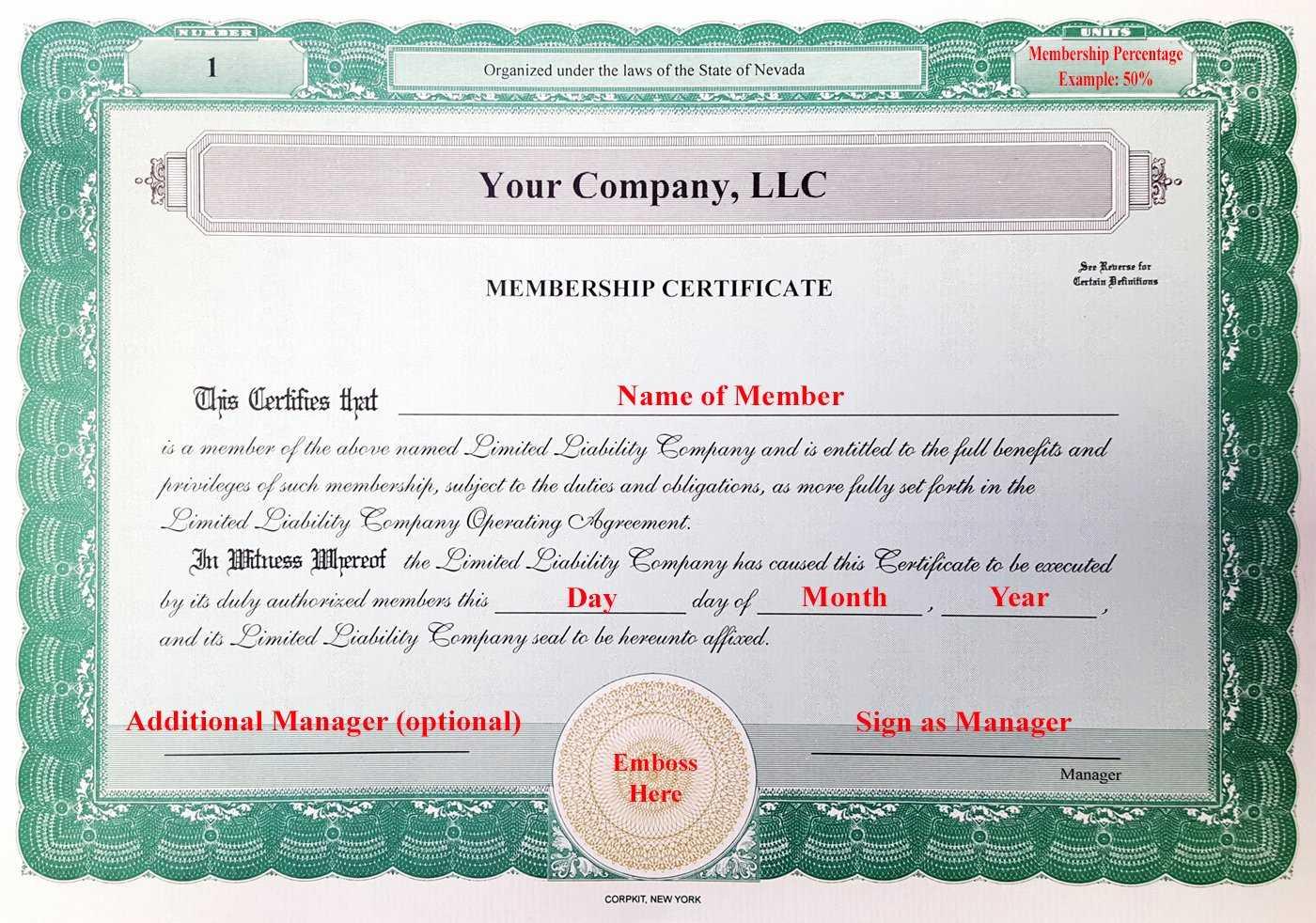 Llc Membership Certificates Templates - Tomope.zaribanks.co Regarding Llc Membership Certificate Template Word