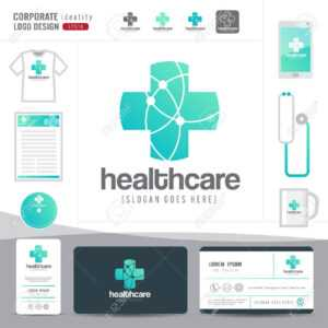 Logo Design Medical Healthcare Or Hospital And Business Card Template With  Clean And Modern Flat Pattern,corporate Identity,vector Illustrator with regard to Hospital Id Card Template