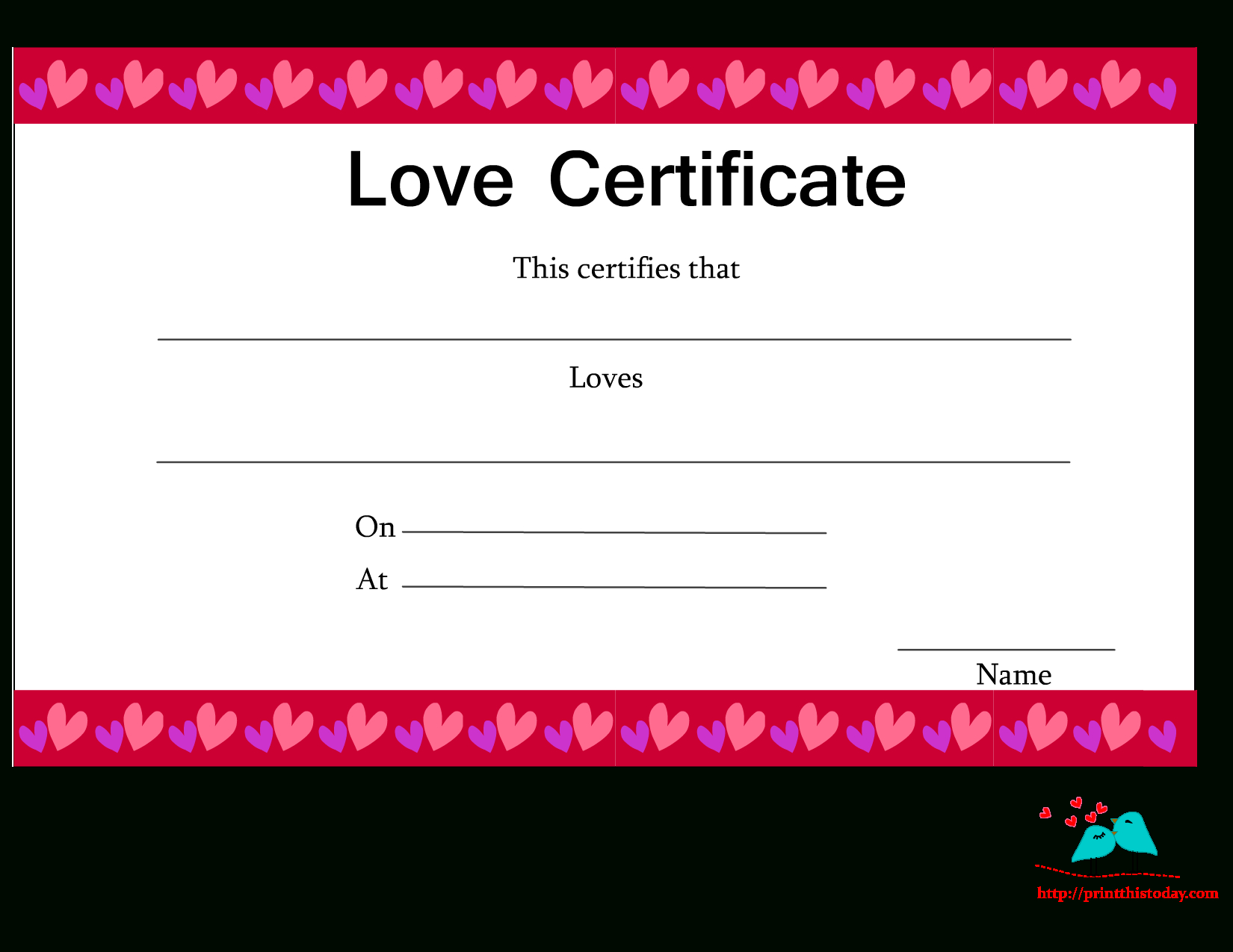 Love Certificate Templates ] - Free Printable Love Inside Love Certificate Templates