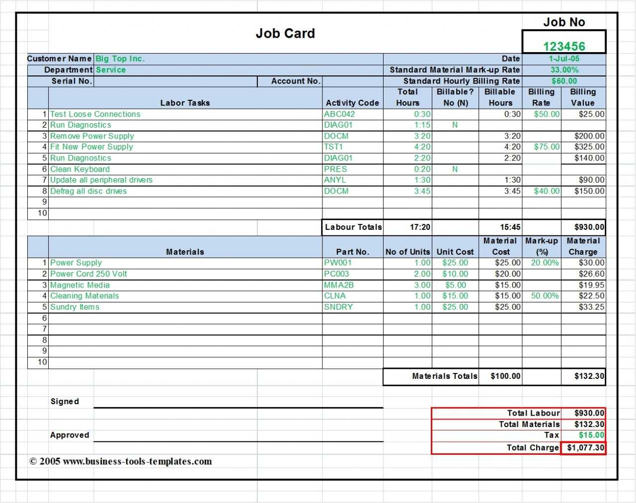 Maintenance Repair Job Card Template - Microsoft Excel Throughout Service Job Card Template